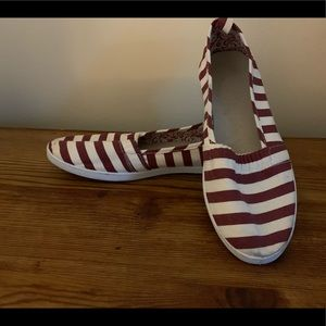 Stripped flat slip on shoes